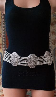 Silver plated metal belt, oldhand, authentic, tribal fusion ethnic boho atlas
