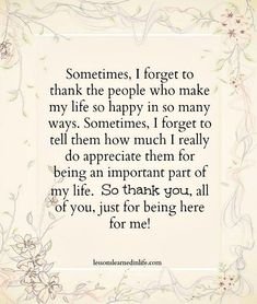 Lessons Learned in Life | Don't forget to say thank you.