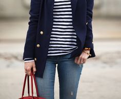 navy stripes & gold buttons