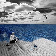 ocean + hardwood floor