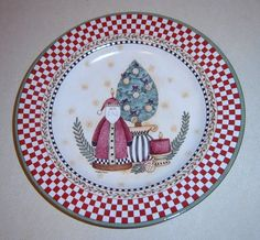 Sakura Debbie Mumm Topiary Red Check Rim Santa Plate Red And Pink, Red Green, China Patterns, Topiary, Dinner Plates, Decorative Plates, Santa, Check, Holiday