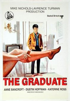 """The Graduate"" (1967). COUNTRY: United States. DIRECTOR: Mike Nichols. CAST: Dustin Hoffman, Anne Bancroft, Katharine Ross, William Daniels, Murray Hamilton, Elizabeth Wilson, Buck Henry, Brian Avery, Walter Brooke, Norman Fell, Alice Ghostley, Marion Lorne, Eddra Gale, Richard Dreyfuss, Mike Farrell, Elaine May, Ben Murphy, Kevin Tighe"