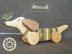 Wooden Toy pull toy a Green Dog eco friendly natural kids toy friendlytoys