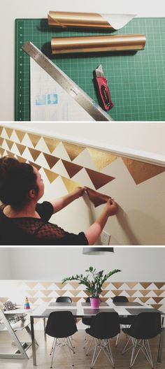 Sharing our wall diy for those interested in this very simple project. All you need is a cutting board, exacto blade and some metallic contact paper. Took about an hour to put up