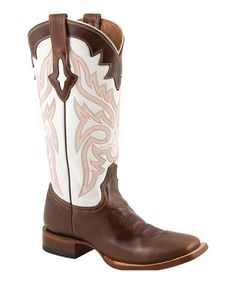 Take a look at this Natural & Chocolate Cowboy Boot - Women by Lucchese on #zulily today!