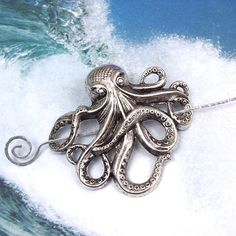 Silver Octopus Shawl Pin Octopus Scarf Pin by ShawlPinJewelry