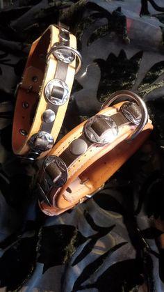 Vollleder Halsband im Western-Style mit Concha Sehr robust und 2,5 cm breit Farbe natur Anfertigung auf Wunschmaß nach Bestelleingang