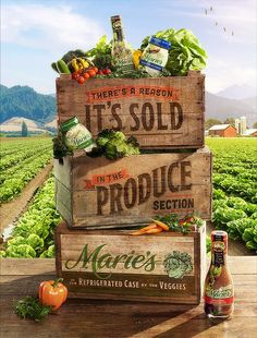 This is a good design that uses imagery well in how they stacked the boxes up with each other in front of the farm. The text on the boxes works well. Web Design, Food Design, Layout Design, Print Design, 2020 Design, Clever Advertising, Advertising Design, Advertising Campaign, Creative Poster Design