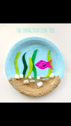 Under the Sea Paper Plate Craft - The Imagination Tree - - Make a gorgeous under the sea paper plate craft using natural materials collected at the beach! This is such a fun kids craft idea for all ages to enjoy. Ocean Crafts, Vbs Crafts, Camping Crafts, Fun Crafts For Kids, Summer Crafts, Toddler Crafts, Preschool Crafts, Art For Kids, Kid Art