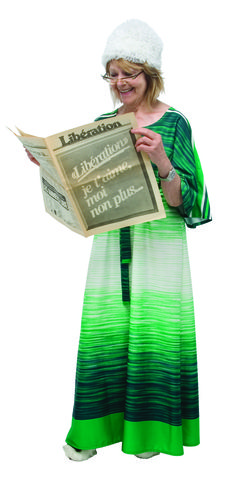 1970 - Une robe avec un imprimé vert, dégradé, collection privée © Solo-Mâtine Lingerie, Vintage, Collection, Green, Accessories, Underwear, Vintage Comics, Corsets