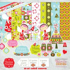 This retro Holiday digital kit is packed full of papers, accents, trims and more. You can also print out the elements!