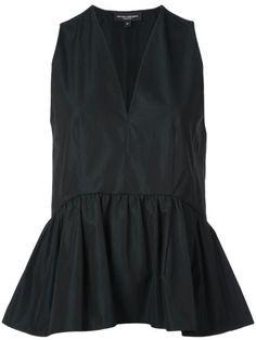 Narciso Rodriguez V-neck peplum top - Black Black Saturday, Zip Front Dress, Narciso Rodriguez, Black Tops, Peplum, Women Wear, V Neck, Fashion Design, Clothes