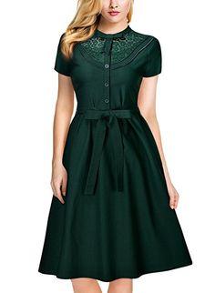 Miusol Donna Vintage Retro 1950s Vestito a Pieghe Stand Collare Pizzo Vestiti