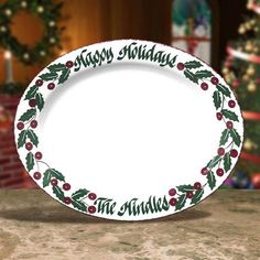 personalized 16 oval snowman serving platters