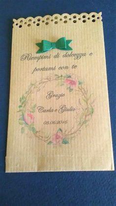 25 Sacchetti-bustine carta kraft avana portariso, portaconfetti per confettata personalizzati