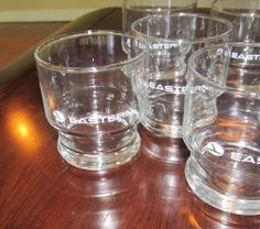 Vintage 70s-80s Set 8 EASTERN AIRLINES Glasses-Drinking, Rocks, Barware-Original