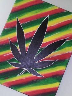 Marijuana Leaf Painting by CreativePaintingKAL on Etsy
