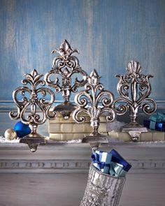 H7BGV Antiqued-Silver Baroque Stocking Hooks