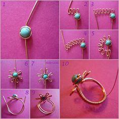 Fleur avec une perle travaillée sur fil métallique.