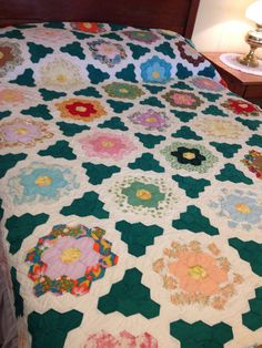 Flower Garden Quilt Vintage Hand Quilted Green by AStringorTwo