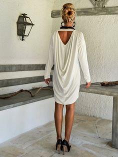 Ivory Draping Loose Dress / Ivory Kaftan / Asymmetric Plus Size Dress / Oversize Loose Dress / #35091