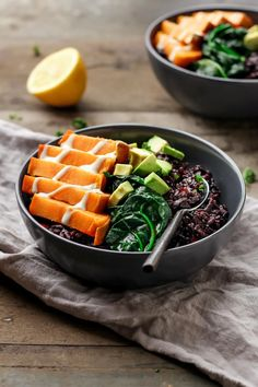 Miso Forbidden Rice Bowls - Full of Plants Good Healthy Recipes, Veggie Recipes, Vegetarian Recipes, Healthy Meals, Forbidden Rice Recipes, Miso Recipe, Red Miso, Asian Soup, Food Bowl