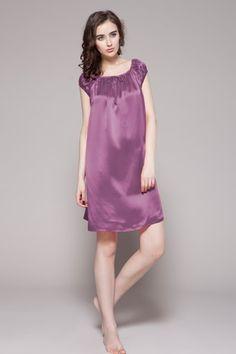 Short Round Neck Silk Nightgowns For Women