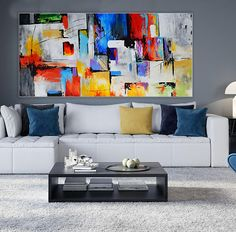Large Contemporary Abstract Painting on canvas Panoramic