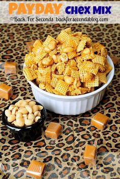 If you love when salty and sweet come together, you will love this Payday Chex Mix! This snack takes just 5 minutes to make and tastes like the candy bar! Chex Mix Recipes, Chex Cereal, Macaroni And Cheese, Caramel, Candy, Mac And Cheese
