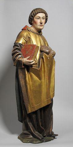 late 15th C. Saint Stephen. German. Medium: Wood, paint.  31 1/2 in. MET The Cloisters.