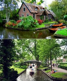 Giethoorn is a roadless village in the Netherlands, connected by a water canal system. So cool! I want to go!