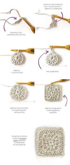 Vestido Granny Squares de Bebé combinado con Tela Cómo hacer un vestido de granny squeres de bebé combinado con tela DIY - Tutorial y Patrón Crochet Yoke, Crochet Girls, Crochet Squares, Granny Squares, Crochet Cardigan, Crochet For Kids, Crochet Doilies, Loom Knitting Projects, Baby Knitting Patterns