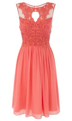 Stunning detailed bodice on this coral bridesmaid dress. Could even be worn by a guest with summery accessories. Stunning detailed bodice on this coral bridesmaid dress. Could even be worn… Coral Dress, Orange Dress, Lace Dress, Dress Up, Coral Lace, Lace Chiffon, Chiffon Dresses, Dress Prom, Prom Dresses