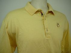 Mens BOBBY JONES shirt/Polo/Golf XL Free Ship ITALIAN 100% Cotton Check Logo  #BobbyJones #PoloRugby