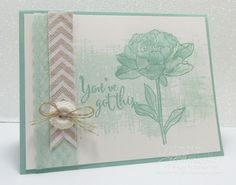 'You've Got This' in Mint Macron with matching Spotted Lace Trim, Natural Chevron Ribbon and Very Vintage Designer Buttons.