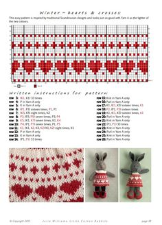 Wall Knitted Bunnies, Knitted Animals, Knitted Dolls, Crochet Dolls, Animal Knitting Patterns, Knitting Charts, Knitting Stitches, Little Cotton Rabbits, Fair Isle Knitting