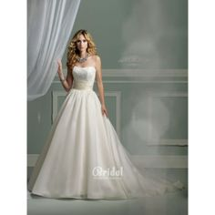 Satin Princess Ball Gown Wedding Dress with Corded Midriff Lace Bodice. #Ivory, #Strapless, #Empire, #Train, #Lace, #Wedding, #Dress, #Bridal. Only $520.00