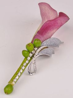 Calla lily boutonniere with bling