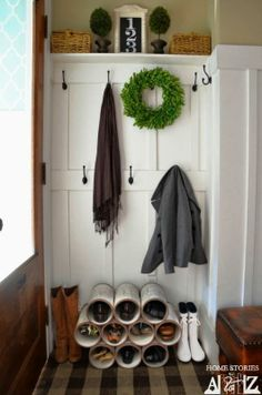 Build a shoe organizer from pvc pipe and keep those dirty shoes out of the hall!