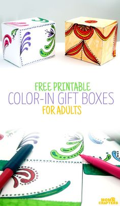 Grab these FREE PRINTABLE color in gift boxes for adults - a perfect way to upgrade your holiday gifts! So cool for those who like adult coloring pages and printables.