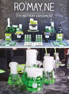 Check out this Science Experiment Birthday Party with hazardous nuclear waste, periodic element cookies, bubbling beakers, petri dishes of gummy worms and more