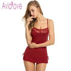 d767ab47bf9f4 Avidlove Women Sexy Lace Nightgown Cotton Nightdress Stretch Bodycon Mini  Dress Sleepwear Sexy Lingerie Plus Size