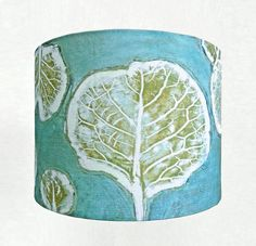 Linen Drum Lamp Shade in Blue Green Cyan by BelfastBayShadeCo