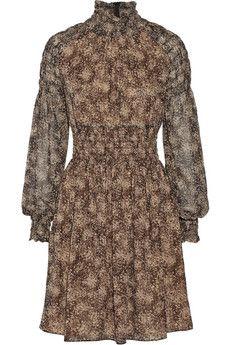 Michael Kors Collection Smocked printed silk-chiffon mini dress | THE OUTNET