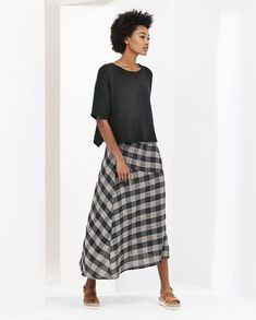 Poetry Checked Panel Skirt Ink/Stone Size 12 LF076 RR 16