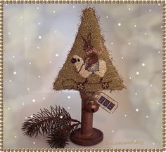 'Joy' Primitive Original Punch Needle Bunny Sheep Toy Folk Art Christmas Tree | eBay