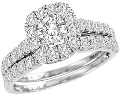 White Gold Halo Shape Style With Round Center Stone And Round Diamonds Bridal Ring Set (1.4ct. tw)- 28130864