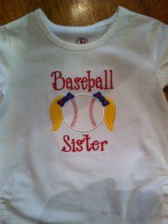 Baseball sister little girls appliqué shirt