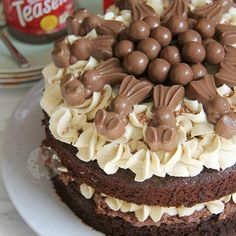 A Two Layer Chocolate Malt Sponge, with Malteser Spread Filling, Malt Buttercream Frosting, Malteser Chocolate Easter Cake, Chocolate Fudge Cake, Delicious Chocolate, Chocolate Malt, Chocolate Chips, Chocolate Spread, Chocolate Cupcakes, Chocolate Lovers, White Chocolate