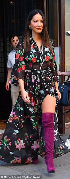No purse: The half-Chinese beauty accessorized her racy ensemble with a simple pair of silver hoop earrings and matching ring - June 01 2019 at Yellow Engagement Rings, Olivia Munn, Diamond Earrings, Hoop Earrings, Sheer Dress, Nice Tops, Casual Outfits, Chinese, Purse